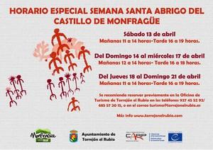HORARIO ESPECIAL ABRIGO DEL CASTILLO Y CENTRO SUR DE VISITANTES PARA ESTA SEMANA SANTA DE 2019